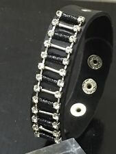 Fashion leather bracelet cuff wristband in black colour with rhinestones