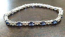 4.36 Cts Blue Sapphire Oval And Diamond Tennis Link Bracelet 14k White Gold Over