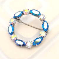 Blue Wreath Brooch Classic Rhinestone Collar Pin Sparkly Costume Jewellery