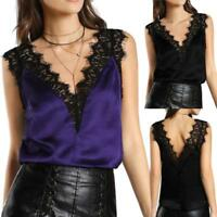 Fashion Women's Lace Vest Top Sleeveless Casual Tank Blouse Summer Tops T-Shirt