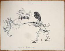 Dessin original de Raoul THOMEN (1876-1950)  le soldat et le loup