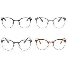 Unisex Retro Plain Clear Lens Glasses Eyeglasses Metal Round Half Frame New