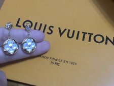 LV AUTHENTIC DANGLING EARINGS MOTHER OF PEARL WITH DIAMOND 18K SOLID GOLD