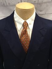 Luxe 42R Holland & Sherry Navy Blue Double-Breasted Blazer,100% Wool Sportcoat