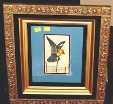 "ANTIQUE ORNATELY DETAILED AESTHETIC FRAME [16 1/2"" x 18 1/2""] - BIRD WATERCOLOR"