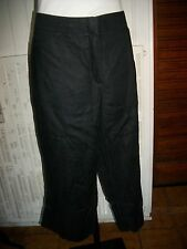 Pantalon Court pantacourt 100% lin noir GERRY WEBER 48F 46D 20UK bas large 16ET4