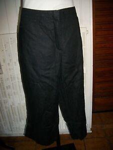 Pantalon Court pantacourt 100% lin noir GERRY WEBER 48F 46D 20UK bas large 16ET4