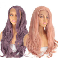 Pre Plucked Long Natural Wave Synthetic Lace Front Wig For Women with Free Part