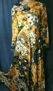 Vintage 60s Floral Dress Empire M L Long Maxi Brown Orange Gown LESLIE FAY