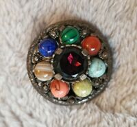 Vintage Miracle Brooch pendant combo Scottish Celtic Cross silver tone agate