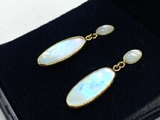 Lovely Vintage 9CT Gold Mother Of Pearl Drop Stud Earrings