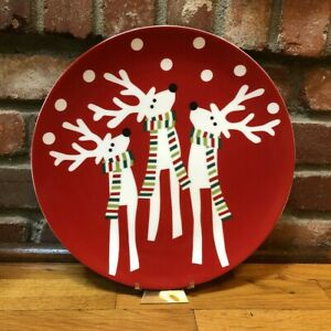 """Crate & Barrel REINDEER 12"""" Round Plate Platter Red Green White Scarf Christmas"""