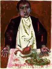 TOTER VOGEL auf GUTGEDECKTEM TISCH - Walter SPITZER -  Orig.Lithographie 1963