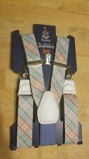 WEMBLEY TOP-NOTCH SUSPENDERS Adult FITS S-XL Blue Pink Checker Suspenders NEW!!