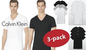 New 3 Pack SLIM FIT Calvin Klein Mens V Neck Crew Neck T Shirt Tee