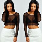 Donna Sexy manica lunga trasparente Mesh rete corto maglia t-shirt maglia