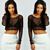 Womens Ladies Crop Top All Mesh Lace Fishnet Long Sleeve Stretch Vest T Shirt