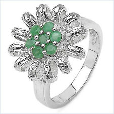 0.47ct Emerald .925 Sterling Silver Ring Size: O