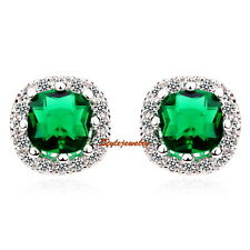 White Gold Filled Emerald Square Stud Earring Made With Swarovski Crystal XE20