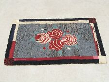Fantastic Antique American Arts & Crafts Period Hooked Rug Abstract Primitive