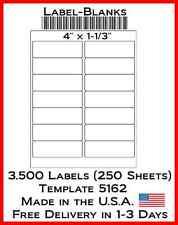 3500 Laser/ink Jet Labels 14 up Address Compatible With Size 5162. 250 Sheets