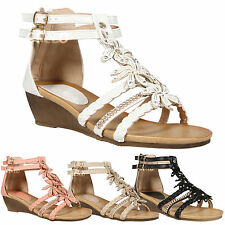 WOMENS LADIES SUMMER SANDALS GIRLS LOW HEEL WEDGE STRAPPY GLADIATOR BEACH SHOES