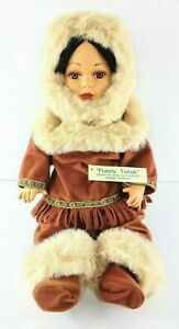 """The Broadway Collection Bisque Porcelain Native American Eskimo Doll 18"""""""