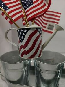 Patriotic/Farm Decor TIN Tray With 3 Cans &  Mini Watering Can & Flags -Lot of 9