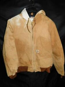 Carhartt M Brown Coat Duck Active Quilted Flannel Lined Jacket J140 DISTRESSED