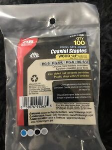 Gardner Bender Electrical Staples Black 1/4 in. Polyethylene Coaxial 100-Pack
