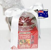 YANKEE CANDLE * TEALIGHT & CHRISTMAS POINSETTIA GLASS HOLDER GIFT SET