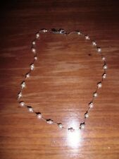 """VINTAGE SIGNED CAROLEE PINK & WHITE FAUX PEARL 16"""" SILVER TONE NECKLACE PRETTY"""