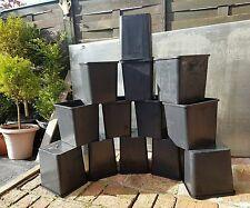 plastic square x6 plastic bucket plant / flower pots, good quality,15 litre x6