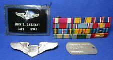 Vietnam War Sterling Usaf Captain's Navigator Badge, Dog Tag, Ribbon Bar Lot