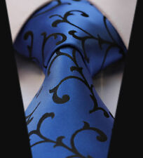 Mens Blue Black Silk Tie Floral