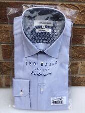 TED BAKER Men's Endurance Shirt BNWT SAMPLE White Grey Small Pattern 16 Collar