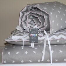 100%COTTON Cot Bed Duvet Cover Set & Bumper Grey  Stars  Chevron Zig Zag  Girls