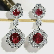 2.02Ct Natural Diamond 14K White Gold Heated Red Ruby Earrings E445