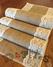 8ft Handmade Narrow Overlocked Lovely Hessian And Lace Table Runner