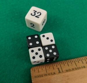Backgammon Game Replacement Black and White Dice and Doubling Cube Small