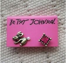 E36 Betsey Johnson Bunny Rabbit with Pearl Tail Topaz Ruby Pink Gem Earrings UK