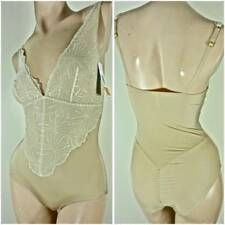 NWT $75 DONNA KARAN INTIMATES BODYSUIT SMALL BEIGE LACE NYLON 766111