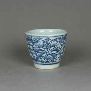 Chinese Blue and White Porcelain Lotus Flower Branch Teacup Cup 1.9 inch 50 ml