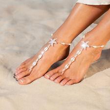 Women Sea Star Pattern Elastic Rhinestone Pearl Barefoot Sandal Chain Anklets