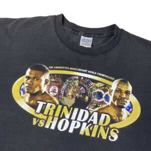 Vintage 2001 Felix Trinidad v Bernard Hopkins WBC Championship Boxing Rap Tee XL