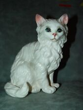 "Vintage Lefton White Persian Cat Porcelain Blue Eyes H1517 6 1/2"" Tall"