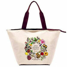 Women Lady beige Cotton Canvas work shift lunch box shopping Light carry bag