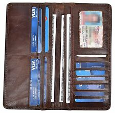Yeeasy Mens Vintage Genuine Leather Long Wallets Bifold Wallet For Men Coffee