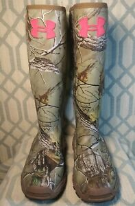 Under Armour Women's Real Tree Mud Hawg Rubber Hunting Boots Size 7 *NEW*