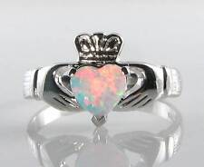 CLASSIC 9K 9CT WHITE GOLD CLADDAGH OPAL HEART ART DECO INS RING FREE SIZING